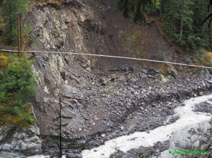 Tahoma creek suspension bridge.