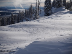 Wind sculpted snow on the ridge