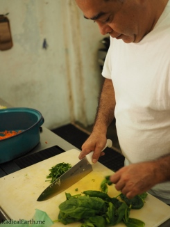 Jorge prepping his hand-made dressing.