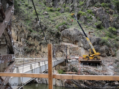 Construction of a brand new bridge begins on the Big Salmon river road, a few miles down river from the trailhead