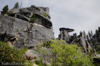 Incredible rock formations at the base of the Black Buttes on the trail