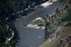 A view of the Wind River pack bridge at the confluence of the Salmon and Wind rivers