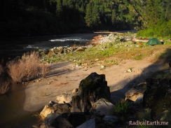 Sunrise hits camp on the Salmon River