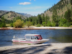 One of Shepps twin engine jet boats, across the river at Polly Bemis ranch