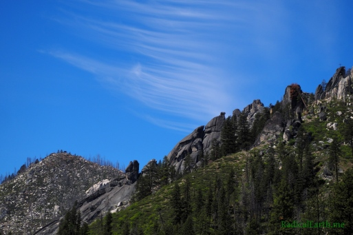 Wispy clouds above the Black Buttes on the sunny hike out from Johnson Saddle
