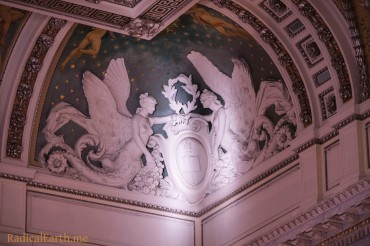 """Angels of Knowledge"" - A zoom of a corner of the high ceiling in the main hall"